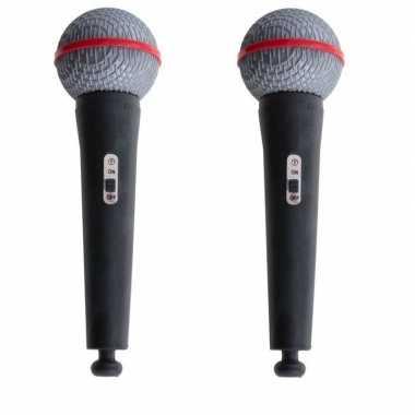 2x popstar speelgoed microfoons 19 cm