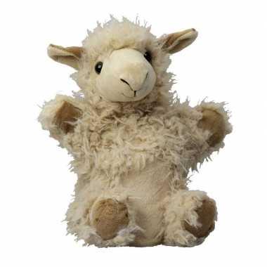 Boerderij dieren handpoppen knuffels lama/alpaca lichtbruin 22 cm