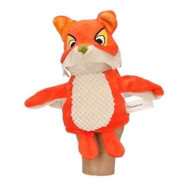 Bosdieren dieren handpoppen knuffels vos oranje/bruin 25 cm fabeltjes