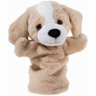 Dieren handpoppen knuffels hond beige 25 cm