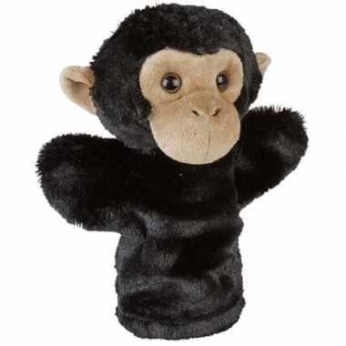 Dierentuin dieren handpoppen knuffels chimpansee aap zwart 26 cm