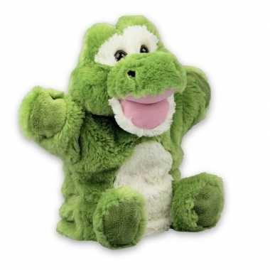 Dierentuin dieren handpoppen knuffels krokodil groen 22 cm