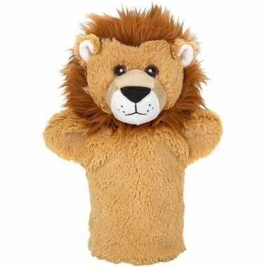 Dierentuin dieren handpoppen knuffels leeuw bruin 24 cm