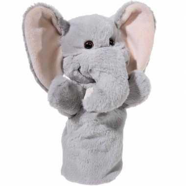 Dierentuin dieren handpoppen knuffels olifant grijs 25 cm