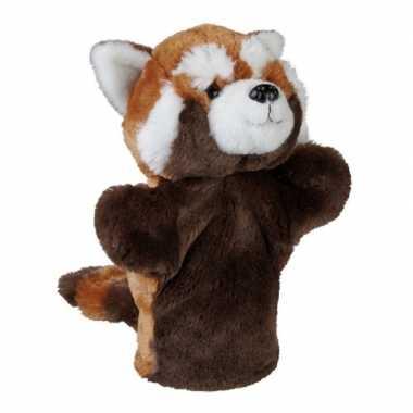 Dierentuin dieren handpoppen knuffels panda beer rood 26 cm