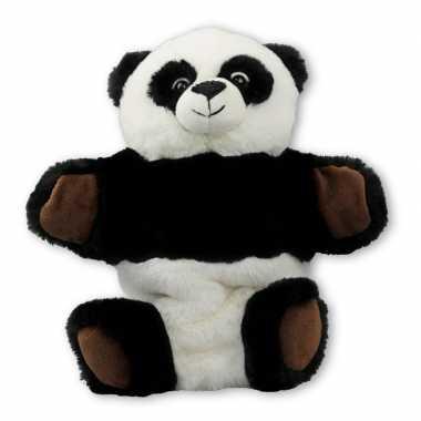 Dierentuin dieren handpoppen knuffels panda zwart/wit 22 cm