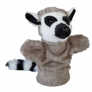 Dierentuin dieren handpoppen knuffels ringstaartmaki aap grijs 26 cm