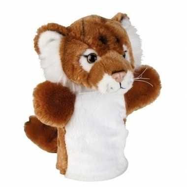 Dierentuin dieren handpoppen knuffels tijger bruin 26 cm