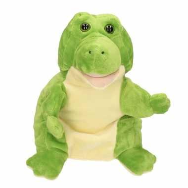 Dierentuin dieren reptielen handpoppen knuffels krokodil groen 30 cm