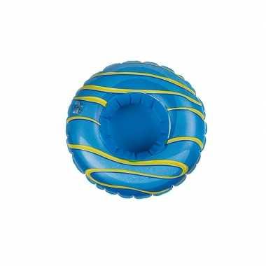 Donut opblaas zwembandje blauw voor poppen