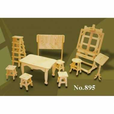 Houten kunstatelier meubels poppenhuis for Meubels poppenhuis