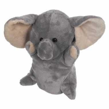 Pluche olifanten handpoppen 24 cm