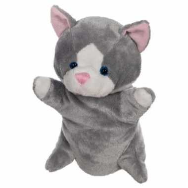 Pluche poes / katen handpoppen 24 cm