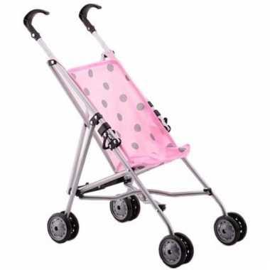 Poppen kinderwagen roze met stippen