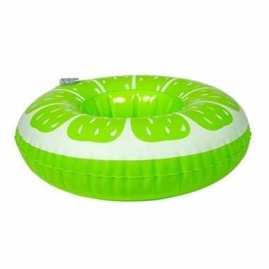 Poppen/knuffel opblaas zwemband limoen 17 cm