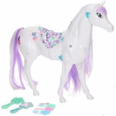 Poppen paard wit/lila met 6 delige verzorgingsset