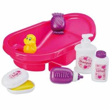 Roze poppen badje met accessoires 32 cm poppenspeelgoed