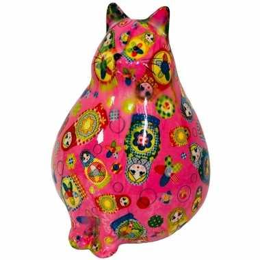 Spaarpot dikke kat/poes roze met poppen 17 cm
