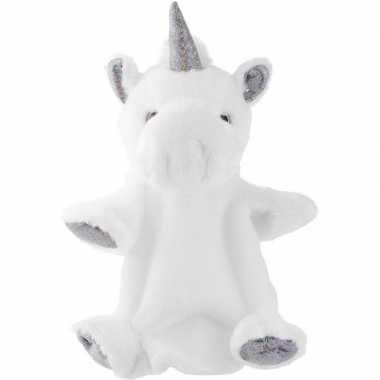 Sprookjes/mystieke dieren handpoppen knuffels eenhoorn wit/zilver 25