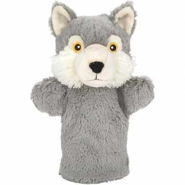 Wilde dieren handpoppen knuffels wolf grijs 24 cm
