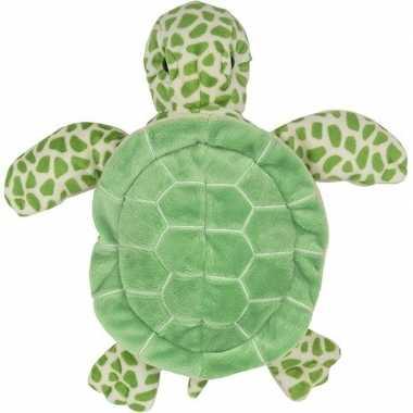 Zeedieren handpoppen knuffels schildpad groen 24 cm